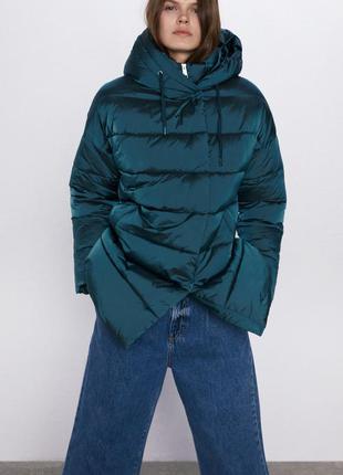 Стеганый пуховик , куртка с капюшоном zara