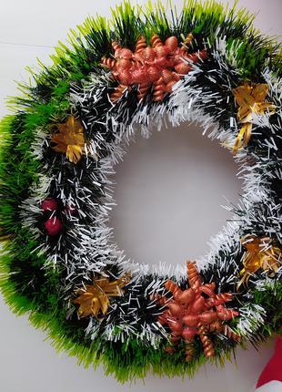 Новогодние и рождественские венки ручной работы