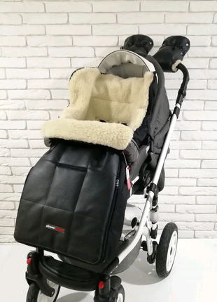 Зимний набор конверт + муфта на коляску Екокожа ZD