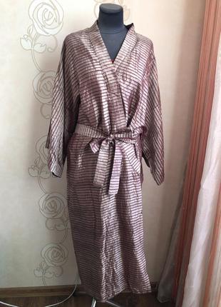 Роскошный шелковый халат кимоно, натуральный чистый шелк,