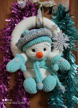 Новогодний венок на дверь,снеговик, снеговичек