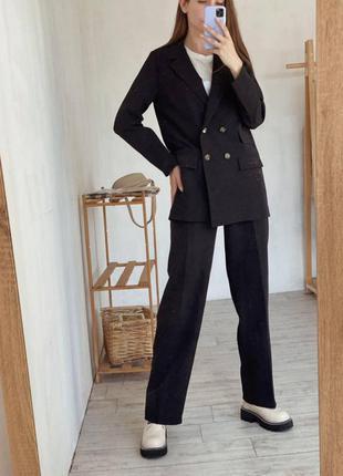 Чёрный удлинённый пиджак/жакет оверсайз. хс-л