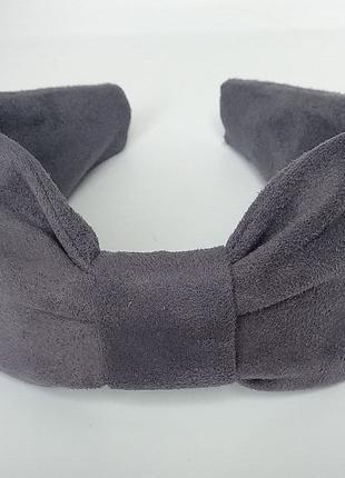 Обруч на голову ободок для волос из замши серый женский