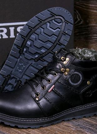 Мужские кожаные зимние ботинки, ботинки, чёрные ботинки