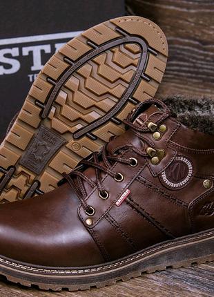Мужские кожаные зимние ботинки, коричневые ботинки, мужские ботин