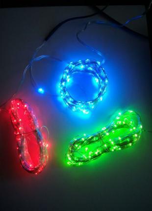 Уличная гирлянда 10 м USB 100 LED садовая нить роса капля