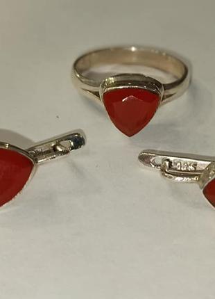 Комплект, серьги и кольцо с сердоликом. Сердолик в серебре.