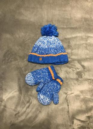 Тёплый вязаный набор шапка и варежки синяя шапочка с помпоном ...