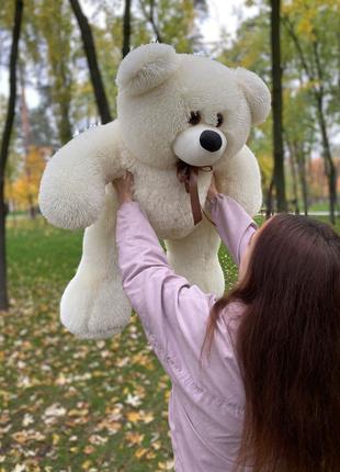 Мягкий плюшевый мишка Толстунчик 110см кремовый. Плюшевый медведь