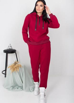 Трендовый теплый спортивный костюм из трехнитки с начесом