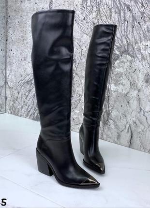 Женские демисезонные сапоги на среднем каблуке,чёрные осенние ...