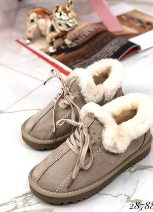 ❤ женские бежевые зимние лоферы автоледи ботинки ботильоны ❤