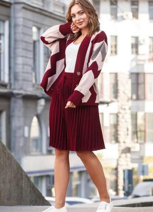 Костюм юбка плиссе кофта оверсайз бордо пудра графит