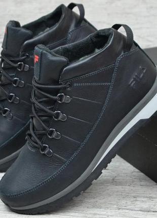 Мужские зимние кожаные ботинки на шнурках