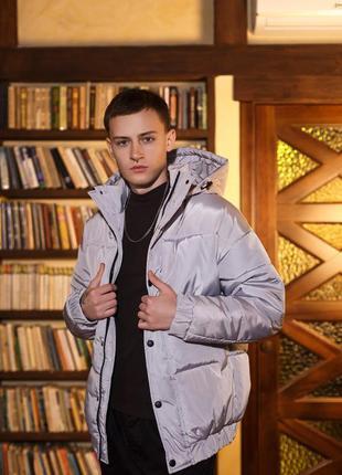 Куртка зимняя оверсайз серая
