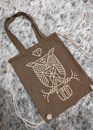 Котоновая сумка шоппер рюкзак fizzen
