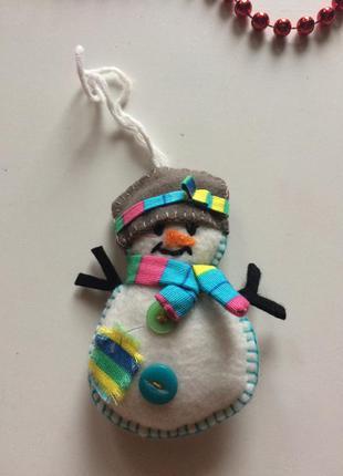 Новогодний декор снеговик из фетра новогодняя игрушка на елку ...