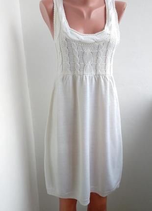 Белое вязанное платье - сарафан h&m туника, майка s-m