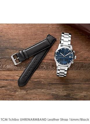 Черный кожаный ремешок для часов ⌚ tcm tchibo 16mm, унисекс