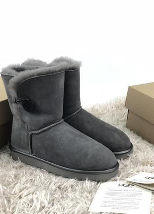 Угги ugg australia bailey button grey серые / женские / ботинк...