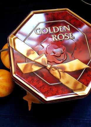 Винтажная жестяная коробка - golden rose дания