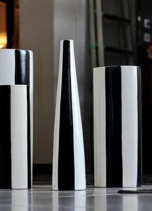 Три дизайнерские вазы art-danzig (набор) , интерьерные, черно-...