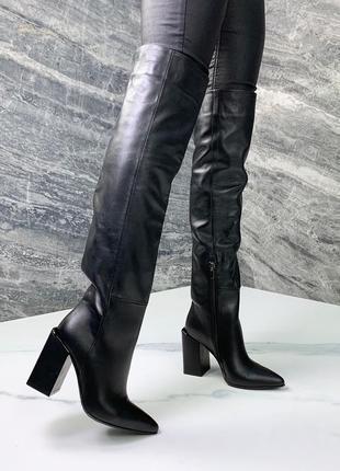 Шикарные кожаные сапоги ботфорты на каблуке,высокие демисезонн...