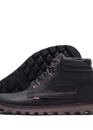 Мужские зимние кожаные ботинки Levis Expensive Black VLSч бот