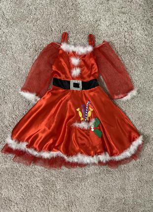 Карнавальное новогоднее платье мисс санта