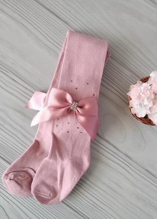 Розовые нарядные колготы для девочек 2-5 лет