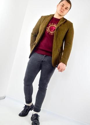 Massimo dutti коричневый блейзер с налокотниками, пиджак, жаке...