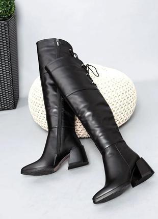 ❤ женские черные кожаные осенние демисезонные сапоги ботфорты ❤