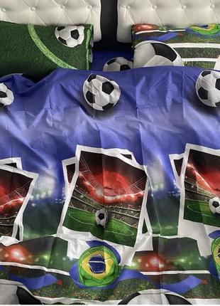 Постельный комплект для мальчика полуторный футбол футбольный мяч