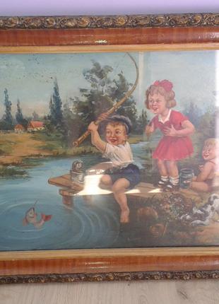 """Антикварная картина """"дети на рыбалке""""(середина прошлого века)ссср"""