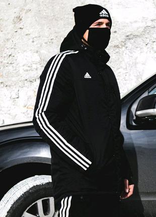 Мужская куртка Адидас зимняя парка пуховик чёрная XS S M L XL