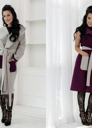 Молодежное пальто + жилетка в одном комплекте