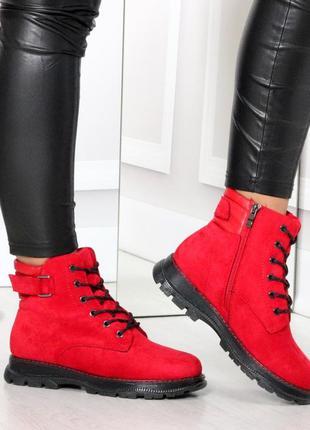 Красные ботинки зимние женские