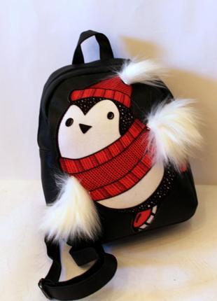 Рюкзак, ранец, маленький рюкзак, эко кожа, пингвинчик