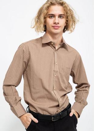 Рубашка мужская  цвет коричневый