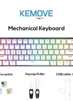 60% Беспроводная механическая клавиатура KEMOVE DK61 Snowfox