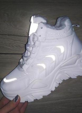 Высокие кроссовки теплые спортивные ботинки платформа