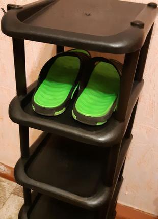 Узкая обувная тумба полка пластик на 5 ярусов на одну пару обуви