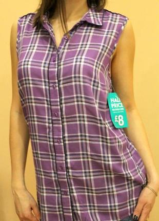 Рубашка, летняя рубашка, женская блуза, рубашка в клетку, длин...
