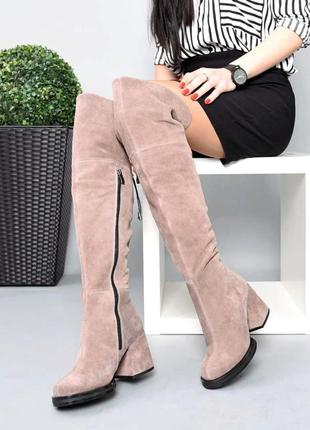 ❤ женские замшевые осенние демисезонные сапоги ботфорты ❤