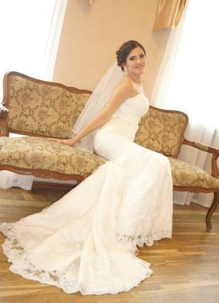 Платье, свадебное платье, шлейф, рыбка, cлоновая кость