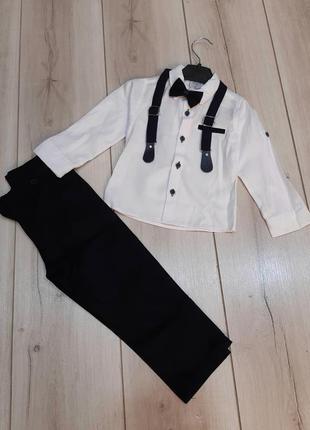 Нарядный классический костюм  для мальчика рубашка и брюки. ту...