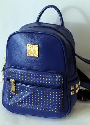 Рюкзак, ранец, маленький рюкзак, женский рюкзак, эко кожа, син...