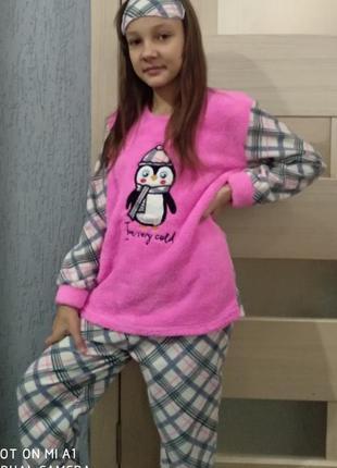 Пижама детская и подросток девочка махра флисс вышивка пингвин...