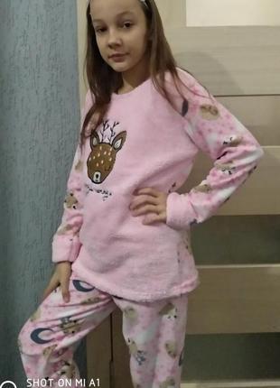 Пижама детская и подросток девочка махра флисс с вышивкой олен...