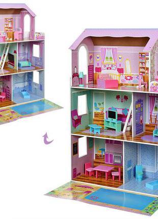 Деревянный домик для кукол MD 2670 трехэтажный с мебелью